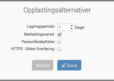 Bilde 3: Opplastningsalternativer for Filemail.com