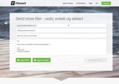 Bilde 1: Filemail.com hvor alt er klart for å laste opp bilder.